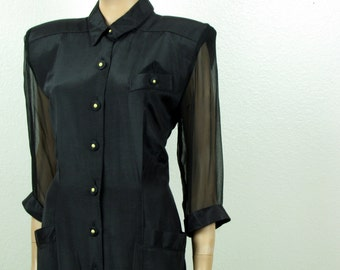 Vintage 1980s Black Rayon Taylored Sheath Dress Button Front Nina Piccalino size 10