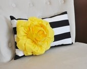 Decorative Lumbar Pillow Yellow Dahlia on Black and White Horizontal Stripe Lumbar Pillow 9 x 16