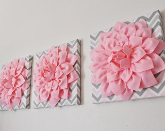 "THREE Wall Flower Decor -Light Pink Dahlia on Pink and Gray Chevron 12 x12"" Canvas Wall Art- Baby Nursery Wall Decor-"