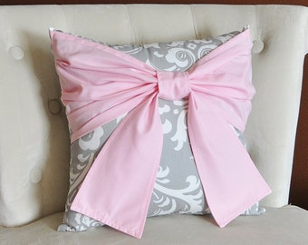 Throw Pillow Light Pink Bow on a Gray and White Damask Pillow 14x14 Pink and Gray Decor