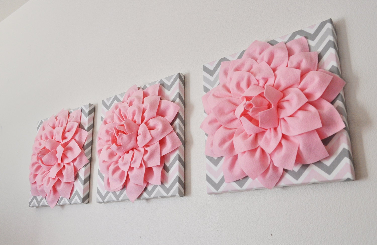 Wall Flowers Decor three wall flower decor light pink dahlia on pink and gray