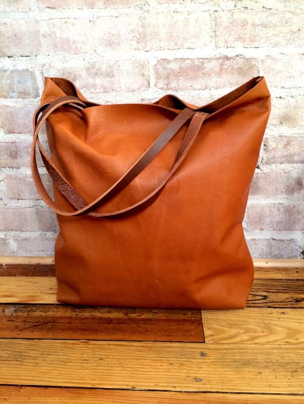 Large camel brown Leather Tote Bag oversized brown leather