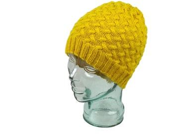 SALE SALE SALE. Ready to Ship. Beanie Hat. Man Hat. Knit Hat. Peruvian Highland Wool. Yellow beanie