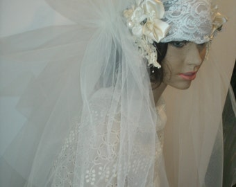 1920S Style flapper Ivory bridal headpiece and veil
