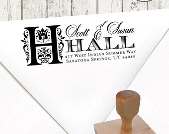 Return Address Stamp – 1 x 3 in FOLK STYLE INITIAL – Personalized Custom Wedding Paper Goods