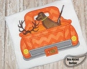 Hunting truck applique embroidery design