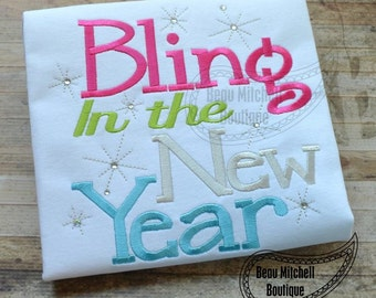 Bling in the new year embroidery design