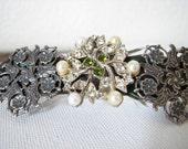 Silver hair clip | french barrette | snowflake | flower