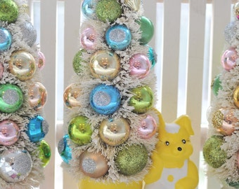 Bunny Bottle Brush Tree Easter chic vintage Christmas glass garland ornaments feather Easter Day Parade Shabby bottlebrush trees