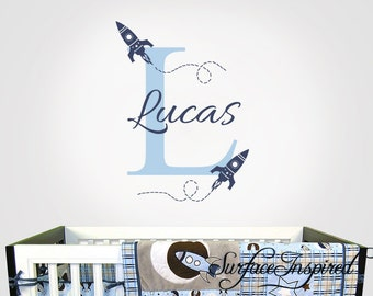 Nursery Wall Decal - Rocket ship name wall decal for boy and girl nursery. Monogram wall decal for boys nursery or playroom.