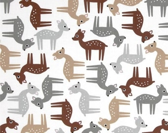 Woodland Pals Tossed Deer Nature  Robert Kaufman cotton  Fabric - 1 Yard  On Sale