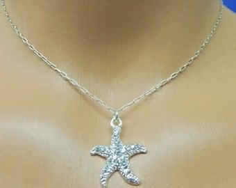 Rhinestone Starfish Necklace, Silver Starfish Necklace, Crystal Starfish Necklace, Bridesmaids Starfish Necklace, Beach Bride Necklace