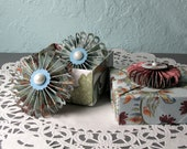 Price Slashed - Origami Box and 2 Rosette Magnets Handmade 3x3 Small Folded Paper Box and Pinwheel Folded Magnets