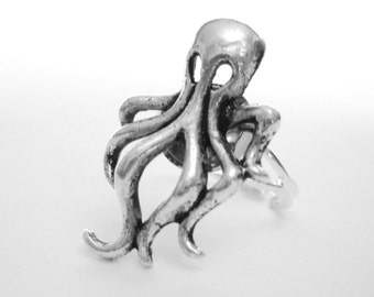 Silver Octopus Ring - Tentacle Octopus Jewelry - Nautical Steampunk Ring - Squid Jewelry - Nautical Gift