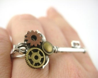 Steampunk Key Jewelry - Steam Punk Ring - Steampunk Jewelry Handmade - Cyber Punk Jewelry