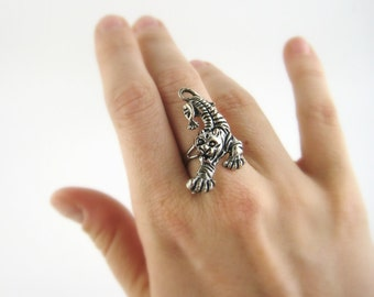 Tiger Jewelry - Silver Long Ring For Women or Men- Tiger Ring - Long Silver Ring - Exotic Jewelry