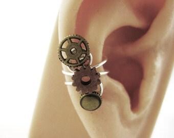 Steampunk Ear Cuff - Gold Steampunk Gear Earring Cuff - Steampunk Punk Earrings - Non Pierced Earcuff Teen Jewelry