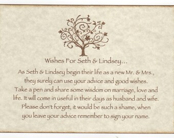 Wedding Wish Tree Tags Advice Cards Instruction Sign, Elegant Tree Wishes Vintage Style Personalized