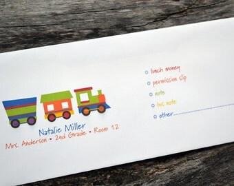 Personalized School Money Envelope for Money and Notes - Train Design - Personalized School Envelopes - Choo Choo Train Envelopes