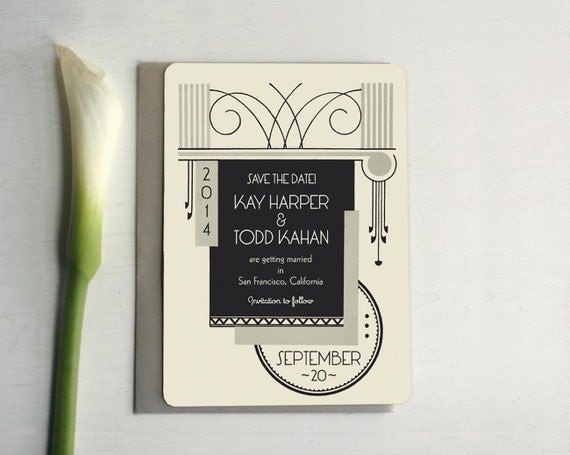 art deco save the date invitation art deco wedding 1920s save the date custom save the date. Black Bedroom Furniture Sets. Home Design Ideas