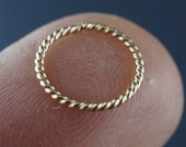 20 gauge cartilage ring 14 kt GOLD twist wire. 10mm  hoop. earring. piercing. septum. brow. endless. catchless. wire No.00E500
