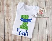 Baby Boy 1st Birthday - Boys Ninja Birthday Shirt - Custom Boy Shirt - Turtle Birthday Party - Baby Outfit
