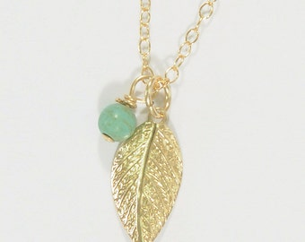 leaf necklace,turquoise necklace,gold necklace,boho necklace,gold turquoise,dainty necklace,layering necklace,tiny necklace, stone necklace