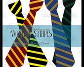 Instant Download 4 Wizard Uniform Ties, Red Gold, Black Green, Yellow Black, Bronze Blue, Printable Wizard Tie Outfit, Wizard Costume Ties