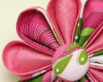 Pink Dupioni Silk Kanzashi with Pink and Green Botanical Print