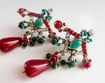 red green indian Earrings-turkish earrings-Bridal Earrings,Wedding Jewelry,Bridesmaids Gift,Indian Jewellery collection Taneesi XE230R