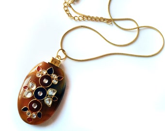 Pendant Necklace,Kundan,Indian Jewelry,AGATE Stone Pendant on gold chain by TANEESI Jewelry