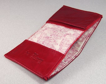 Handmade Deep Red Leather Bifold Card Wallet With Liberty Of London Lining