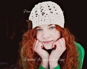 Women's Beanie Hat, Ivory Crochet Adult Hat, Hats for Women, Teen Crochet Hat, Ivory and Brown Cotton Hat