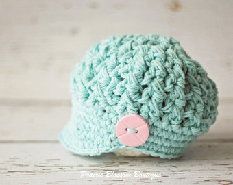 Hats for Newborn Girl, Crochet Baby Hats, Baby newsboy Hat, Baby Girl Hat, Baby Girl Clothes, Newborn Size, Prairie Blossom Boutique