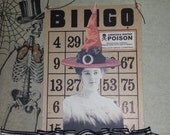 altered BINGO card, Halloween decor, vintage witch