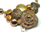 Upcycled Jewelry, Button Necklace Statement  with Repurposed Vintage Brass Buttons and Zipper Flower