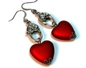 Valentines Day Steampunk Heart Dangle Earrings in Antiqued Silver, Red, Teal, Purple Interchangeable
