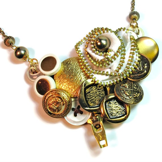 Vintage Button Necklace Bib Upcycled Jewelry With By