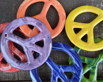 Set of 6 Swirly Rainbow Ceramic Peace Sign Tie Dye Ornaments - Medium - Drilled Holes