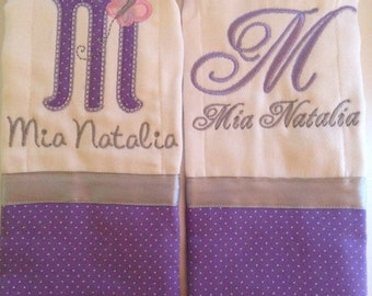Set of 2 personalized custom monogrammed burp cloths lavender and grey butterfly