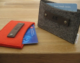 Gift set of 2 Monogrammed Business Card Holder-Wallet- Eco Friendly - Natural grey- Red- Handmade- Great Gift for Him or Her
