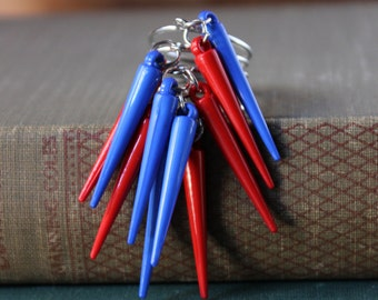 Electric Blue and Red Spike Adjustable Ring