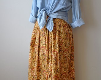 Vintage 70s Full Paisley Midi Skirt in Fall Colors size M/L