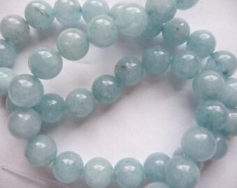 Beads, Brazilian, Aquamarine, Gemstone, 10mm, Blueish Grey, Round, Pkg Of 8