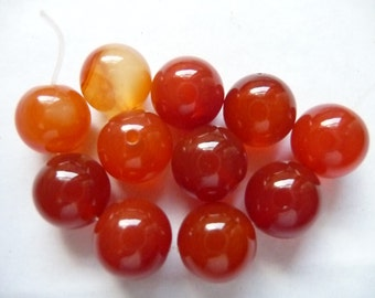 Bead, Red Agate, Gemstone, Dyed, Heated, 10mm, Round, B Grade, Mohs hardness 6 to 7, Pkg Of 11