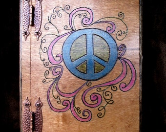 Peace Sign Wooden Journal