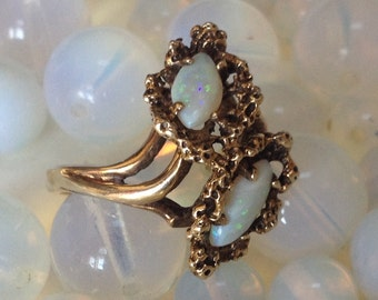 Organic Modernist Marquise Opal Cocktail Ring 10K