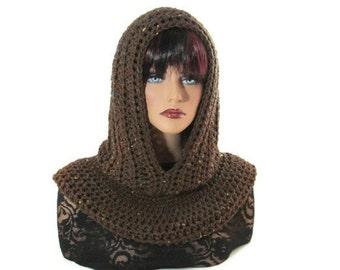 Brown Hood, Brown Scarf, Fishermans Hood, Men Scarf, Crochet, Valentines, Medieval, Women Scarf, Snood, Renaissance, Winter Accessories