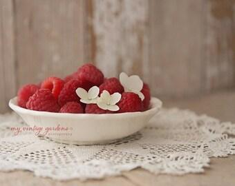 Food Photography -Berries - Raspberries-Fruit -Red & White Decor-kitchen art-summer(5 x 7 Original fine art photography print) FREE Shipping
