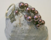 Merlot Swarovski Pearl Cluster Keychain with Sterling Silver Butterfly Charm